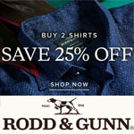 Rodd&Gunn Promo Coupon - SAVE 25% OFF!