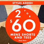 SurfStitch Promo Code - MENS SHORTS AND TEES 2 for 60$