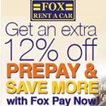 Fox Rent A Car Promo Code - EXTRA 12% OFF