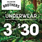 Hallensteins Coupon Code - Underwear 3 for $30